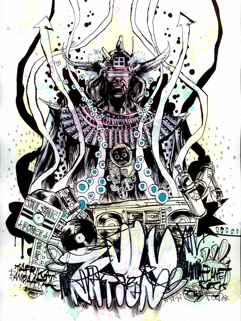"""Afrika Bambaataa"" by Jim Mahfood"