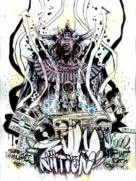 """Afrika Bambaataa"" Framed by Jim Mahfood - Hero Complex Gallery  - 1"
