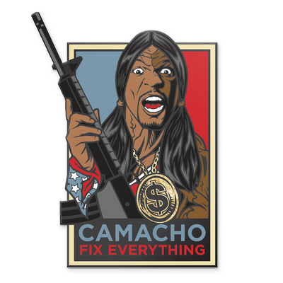 """Camacho Fix Everything"" Hard Enamel Pin by Rhys Cooper - Hero Complex Gallery"