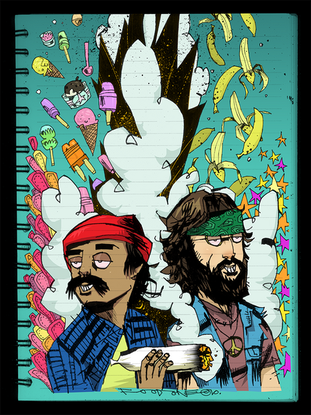 """Cheech & Chong"" Framed by Jim Mahfood - Hero Complex Gallery  - 1"