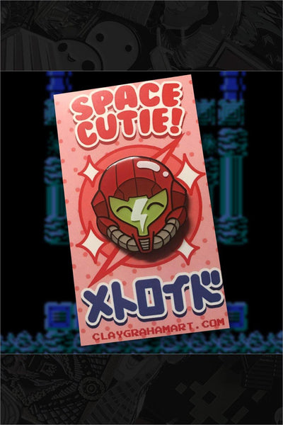 "278. ""Space Cutie"" Pin by ClayGrahamArt"