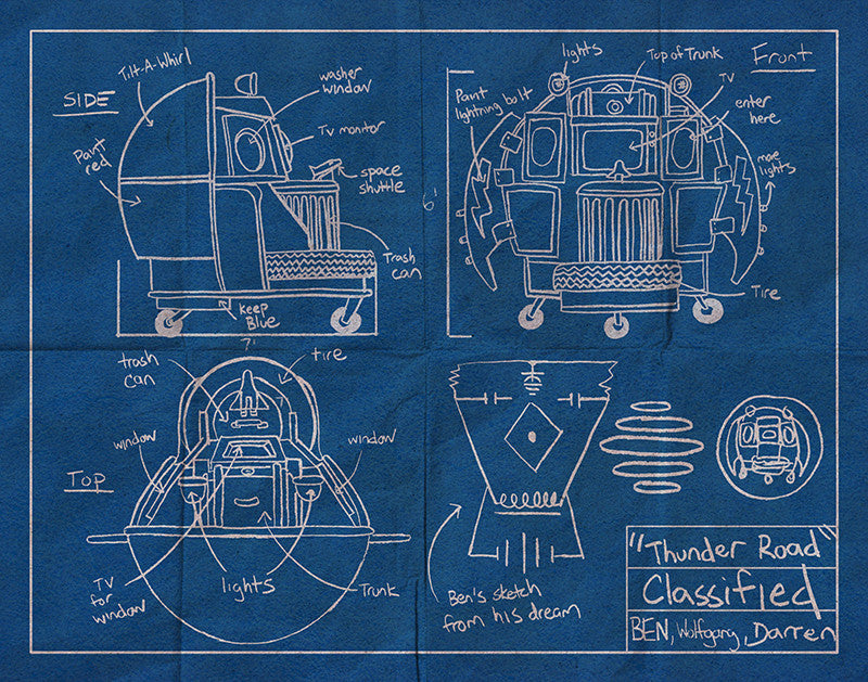 """Thunder Road Blueprint"" by Cuyler Smith $30.00 - Hero Complex Gallery"