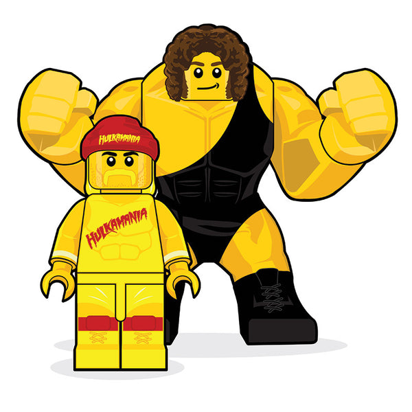 """LEGO Hulk Hogan and Andre The Giant"" by Dan Shearn - Hero Complex Gallery"
