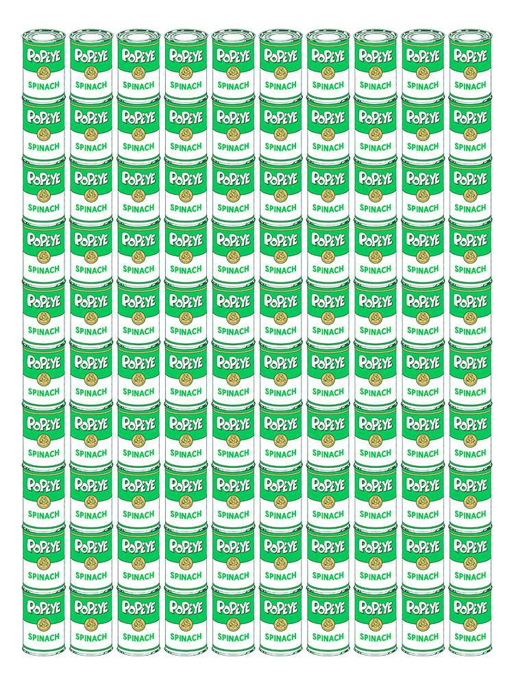 """100 Spinach Cans"" by Drew Wise"