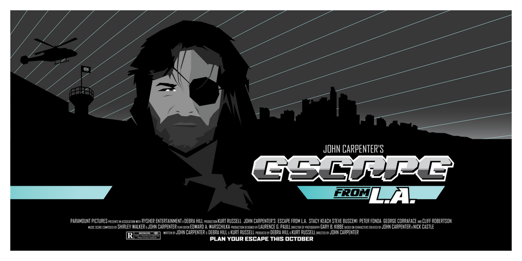 """Escape from L.A. Movie Poster"" by La Fabrique de Posters by Maxime Crouzet - Hero Complex Gallery"