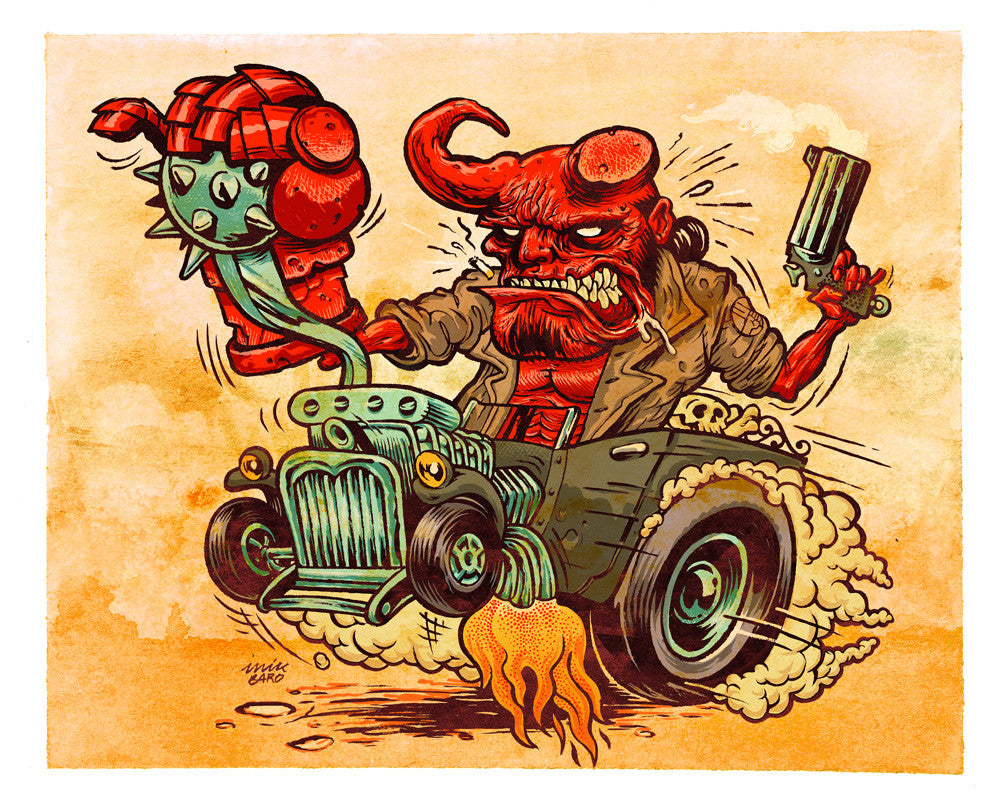 """Hellboy's Hot Rod"" by Mik Baro $200.00 - Hero Complex Gallery"