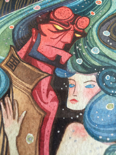 """Hellyboy and Liz"" by Alina Chau $250.00 - SOLD OUT - Hero Complex Gallery  - 3"