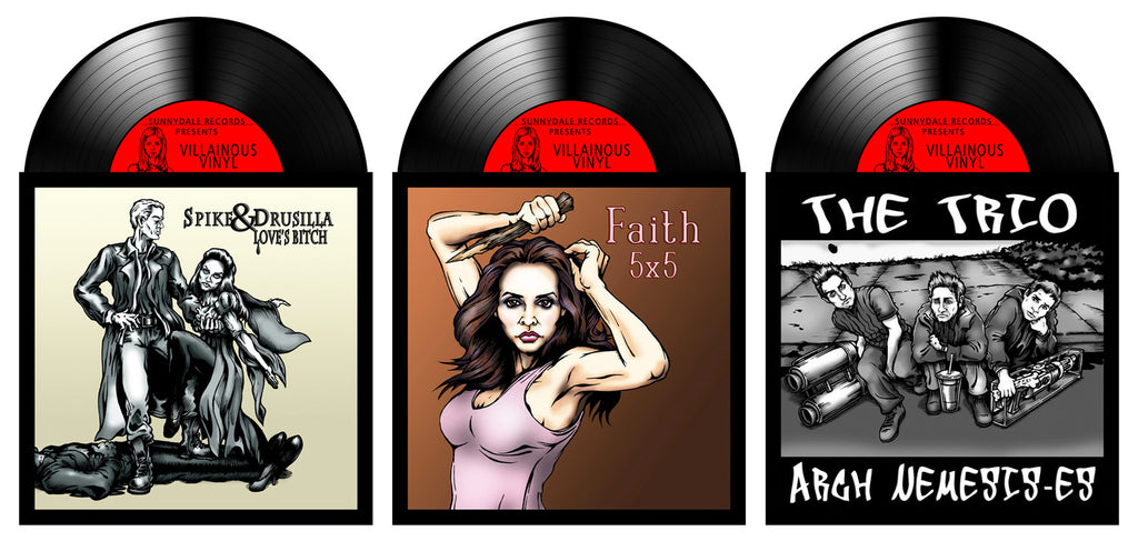 """Sunnydale Records (Faith, Spike & Drusilla, the Trio) Triple Play"" Set by Jason Brown $35.00 - Hero Complex Gallery  - 1"