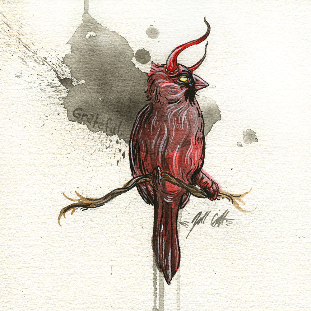"""Hellcardinal"" Original by Jill Colbert / Manfish Inc. - Hero Complex Gallery"