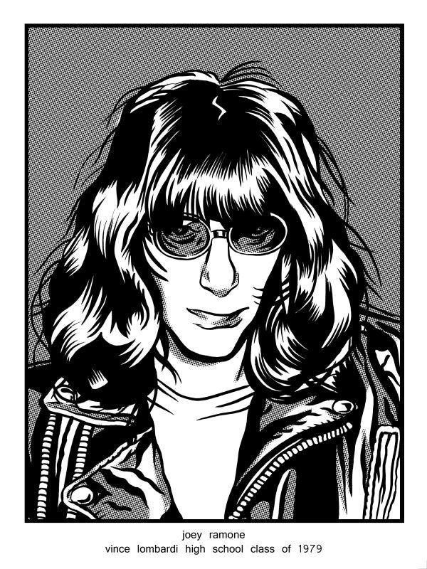 """Joey Ramone Vince Lombardi High School Class of 1979"" by Brian Crabaugh $10.00 - Hero Complex Gallery"