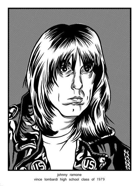 """Johnny Ramone Vince Lombardi High School Class of 1979"" by Brian Crabaugh $10.00 - Hero Complex Gallery"