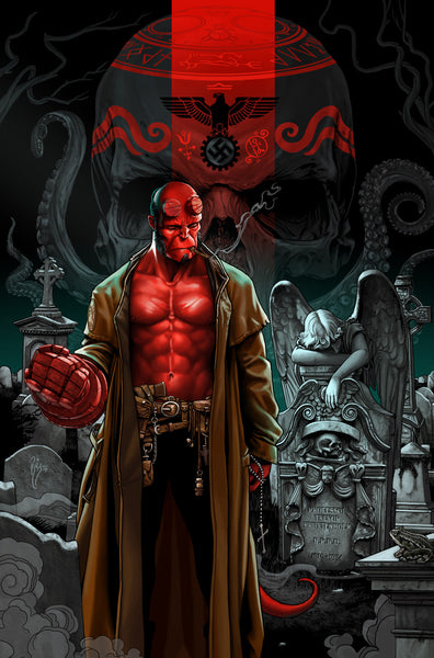 """Hellboy Anniversary"" by Ruiz Burgos $40.00 - SOLD OUT - Hero Complex Gallery"