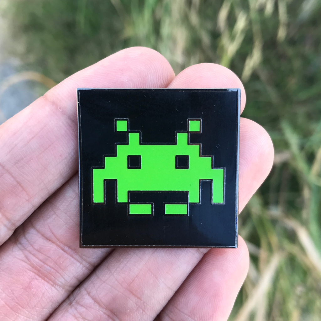 """Space Invader"" Glow in the Dark Pin by Jason Liwag"