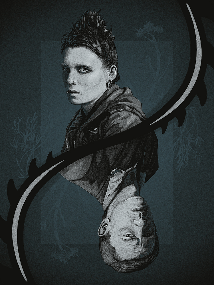 "9 of Diamonds: ""The Girl with the Dragon Tattoo"" by Matthew Rabalais - Hero Complex Gallery"