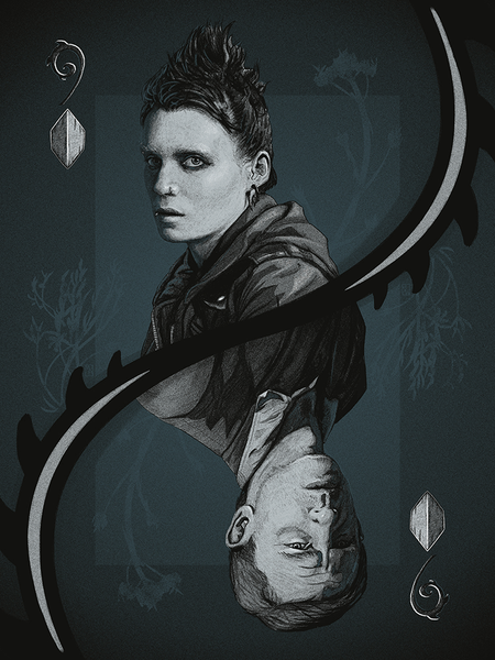 "9 of Diamonds: ""The Girl with the Dragon Tattoo"" Variant by Matthew Rabalais - Hero Complex Gallery"