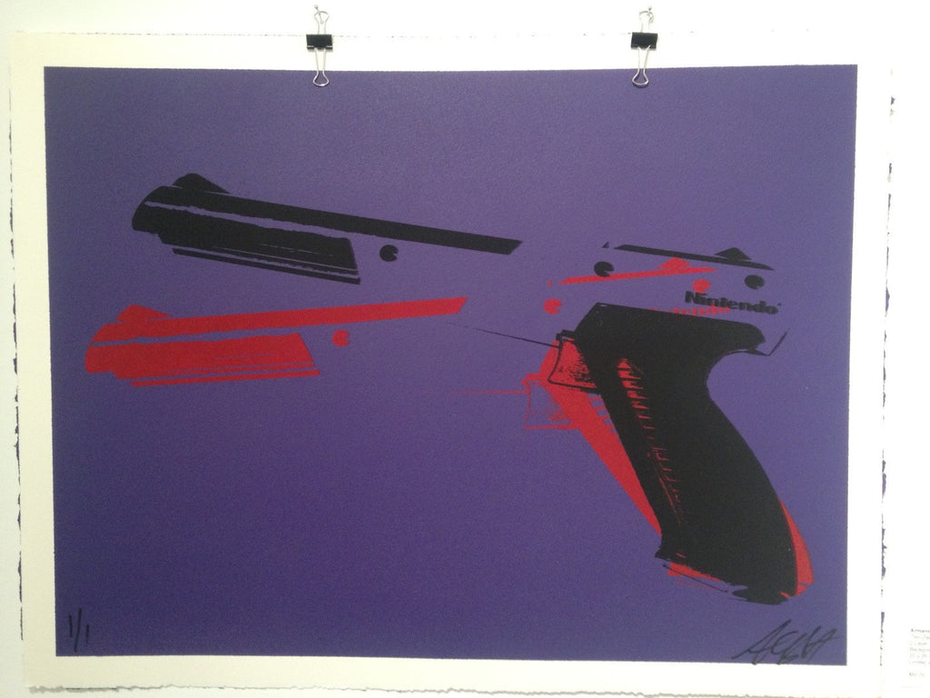 """Two Zappers"" Purple Variant by Armando Chainsawhands $60.00 - SOLD OUT - Hero Complex Gallery"