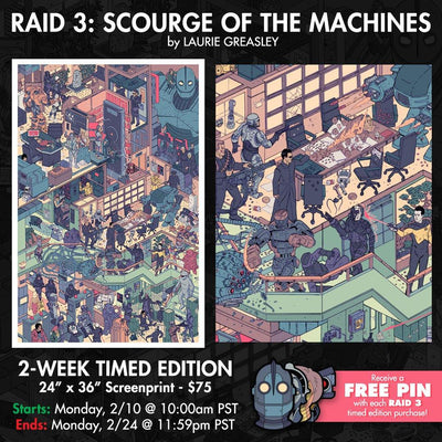 """The Raid 3: Scourge of the Machines"" Screen Print by Laurie Greasley"
