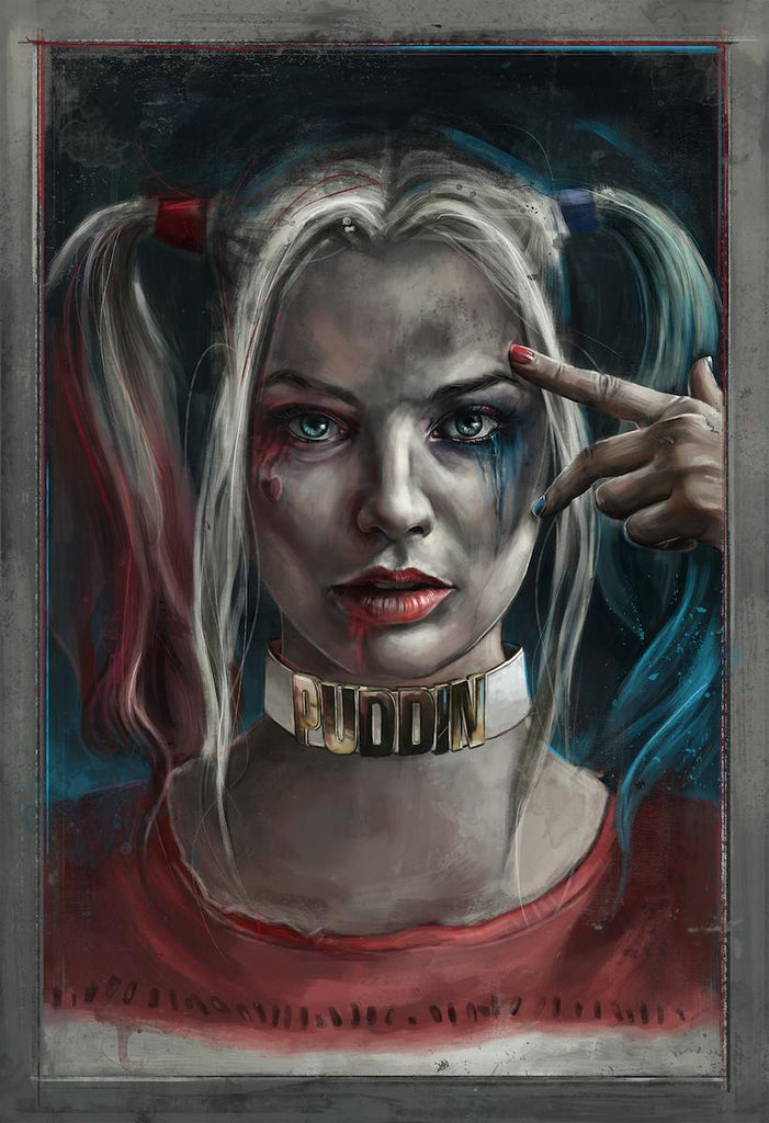 """Harley Quinn"" Embellished 1/1 Variant by Robert Bruno - Hero Complex Gallery"
