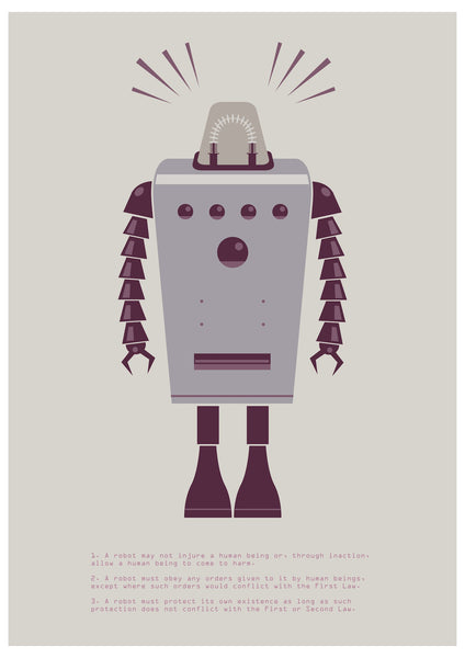 """The Laws of Robotics 2"" by James Gilleard $30.00 - Hero Complex Gallery"