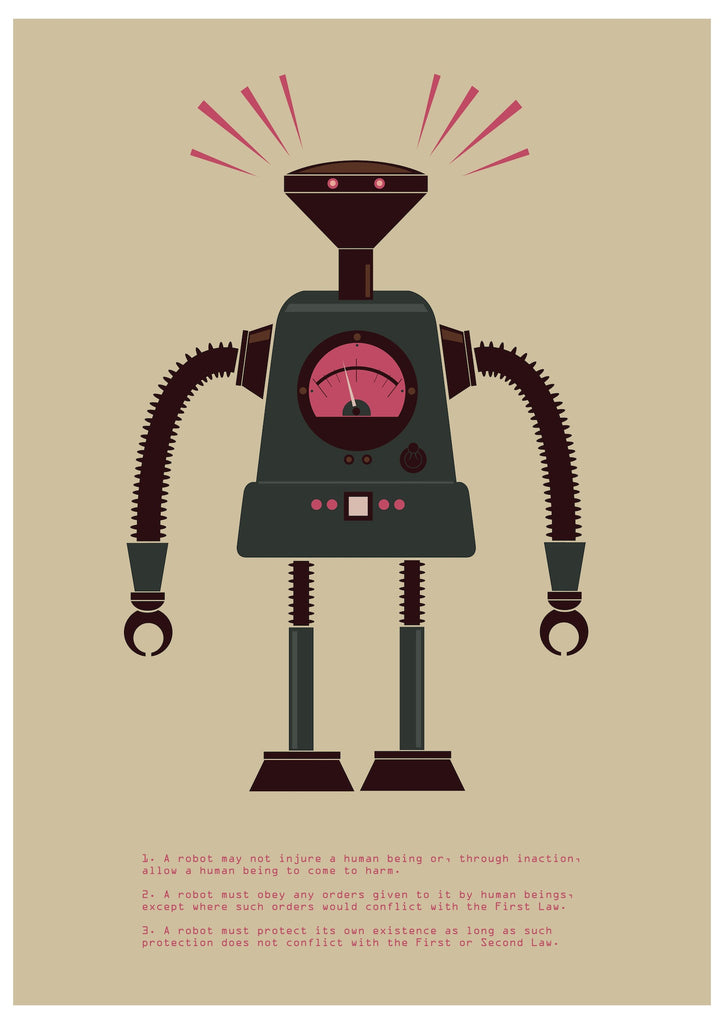"""The Laws of Robotics 4"" by James Gilleard $30.00 - Hero Complex Gallery"