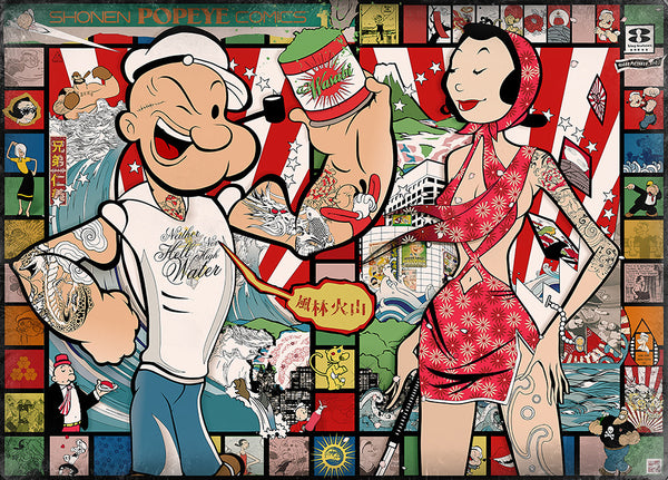 """Popeye: Land of the Rising Sailor"" Large Vintage by Sean Danconia - Hero Complex Gallery"