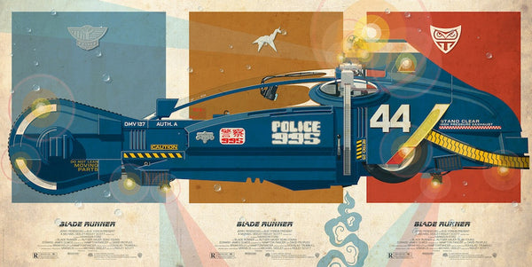 """Blade Runner Police 995 Spinner"" Triptych by Jakob Staermose - Hero Complex Gallery"