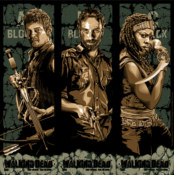"""Fight the Dead. Fear The Living: Michonne, Rick, Daryl Set"" by Tracie Ching - Hero Complex Gallery"