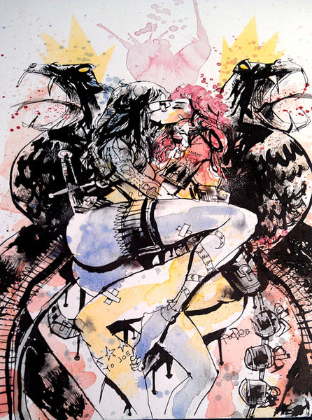 """THE BARONESS & SCARLETT: MAKE LOVE NOT WAR"" by Jim Mahfood - Hero Complex Gallery  - 1"