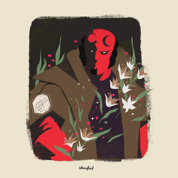 """Hellboy and Lilies"" by Tiffany Ford $100.00 - SOLD OUT - Hero Complex Gallery"
