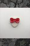 "056. ""White Heart with Red Bow"" Pin by Dare to Dream Flair"