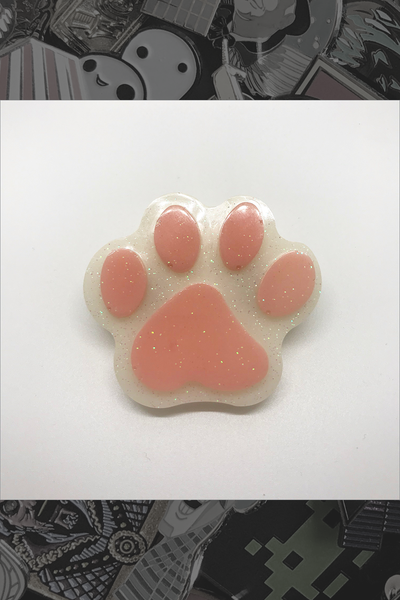 "053. ""White Lil' Paw"" Pin by Dare to Dream Flair"