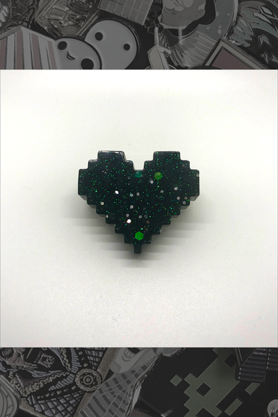 "058. ""Black 8-Bit Heart"" Pin by Dare to Dream Flair"