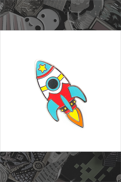 "132. ""Bright Retro Rocket"" Pin by LuxCups Creative"