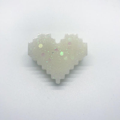 "059. ""White 8-Bit Heart"" Pin by Dare to Dream Flair"