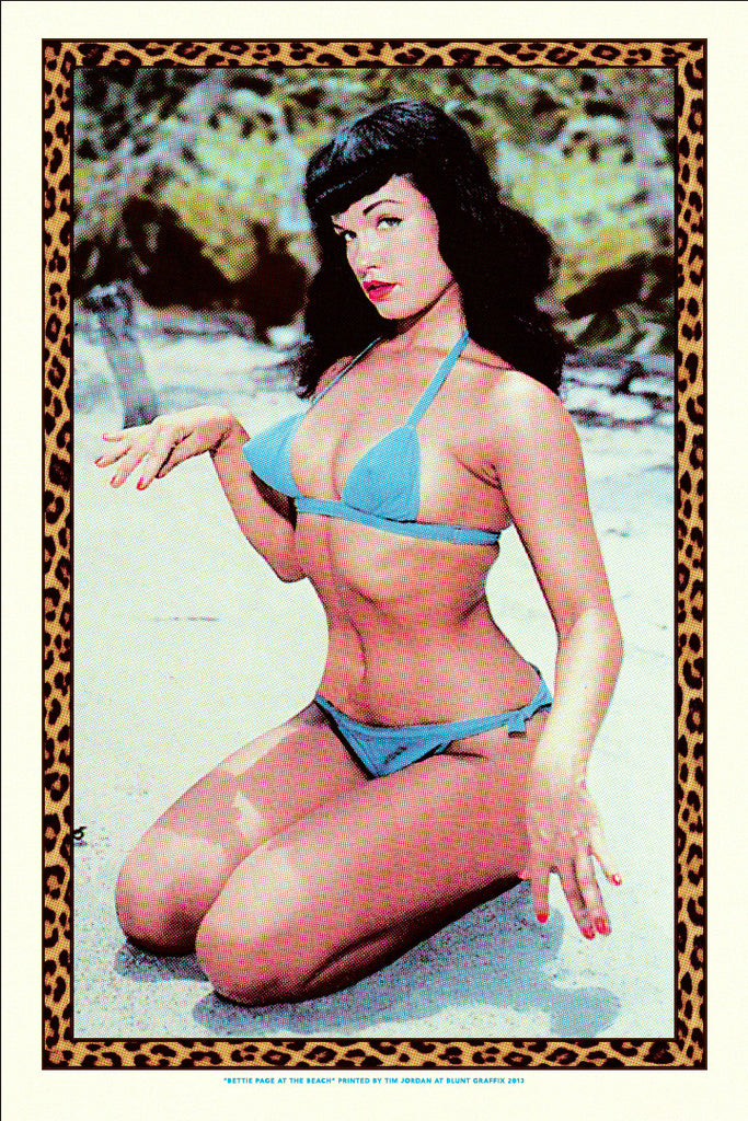 "Bettie: ""Bettie Page at the Beach"" Gold by Tim Jordan - Hero Complex Gallery"