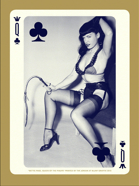"Bettie: ""Bettie Page, Queen of Clubs"" Gold by Tim Jordan - Hero Complex Gallery"