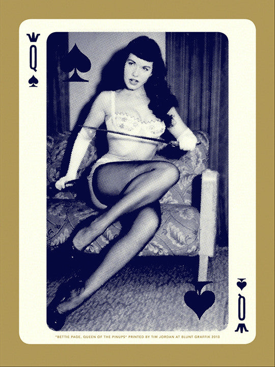 "Bettie: ""Bettie Page, Queen of Spades"" Gold by Tim Jordan - Hero Complex Gallery"