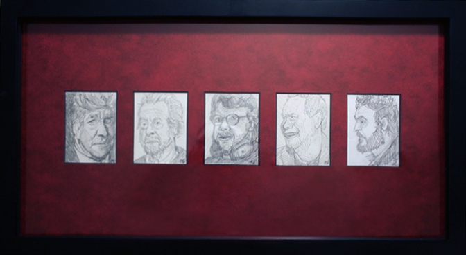 """Lynch, Scott, del Toro, Gilliam, & Kubrick"" by Nick Smith $200.00 - SOLD OUT - Hero Complex Gallery"