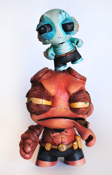 """Hellboy and Abe"" by One-Eyed Girl/Kasey Tararuj $225.00 - SOLD OUT - Hero Complex Gallery"