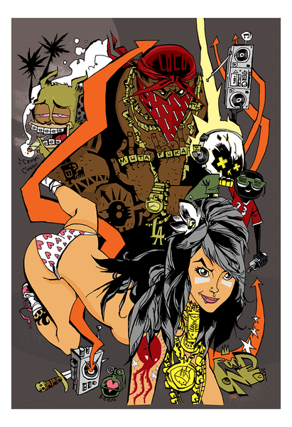 """Mutafuckaz"" Framed by Jim Mahfood - Hero Complex Gallery  - 1"