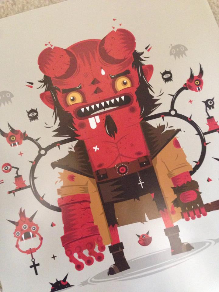 """Worried Hellboy"" by Yema Yema $50.00 - SOLD OUT - Hero Complex Gallery"