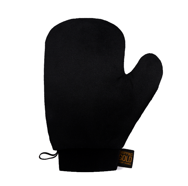 Dripping Gold Velvet Thumb Tanning Mitt With Cuff