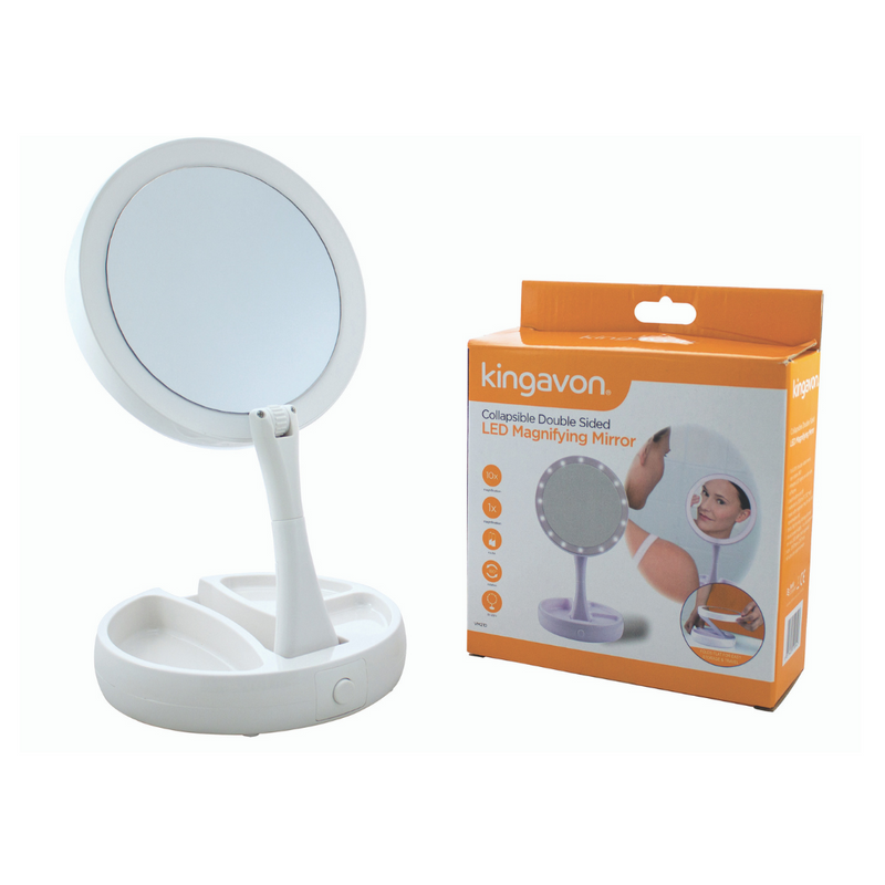 Kingavon Round Collapsible Double Sided LED Mirror