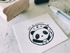 The Let's Do Science Lab Panda Rubber Stamp - Kawaii Mad Scientist Panda Stamp - Funny Stamp - Teacher's Inspirational Grading Stamp