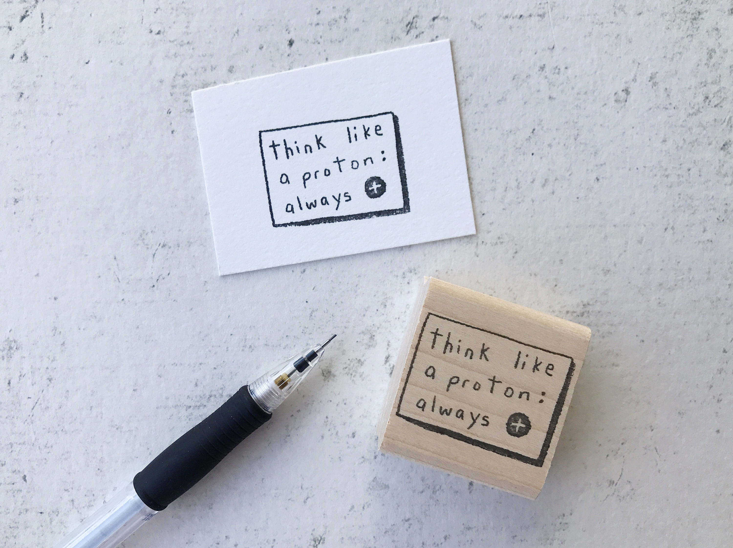 The Proton Stamp - Inspirational Science Teacher's Grading Stamp - Geeky Physics and Chemistry Pen Pal Rubber Stamp Gift