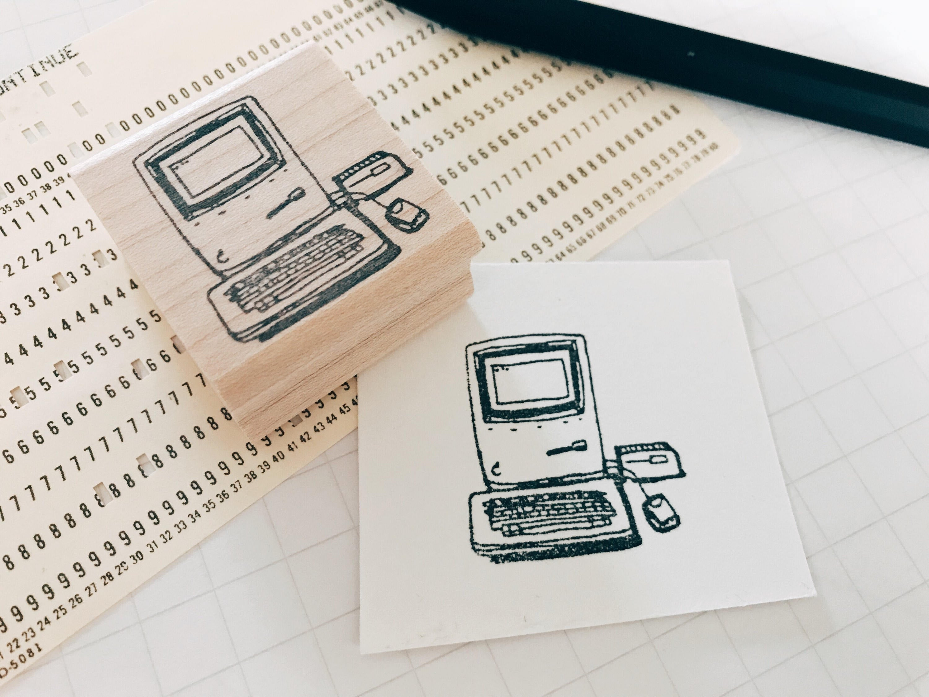 The Retro Mac- Retro/ Vintage Illustration Rubber Stamp - Hipster Pen Pal Stationary Stamp