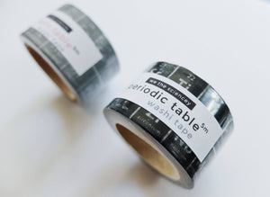 Grey -The Periodic Table of Elements Washi Tape - Ochem Stationary Planner Tape - STEM Science Washi Tape