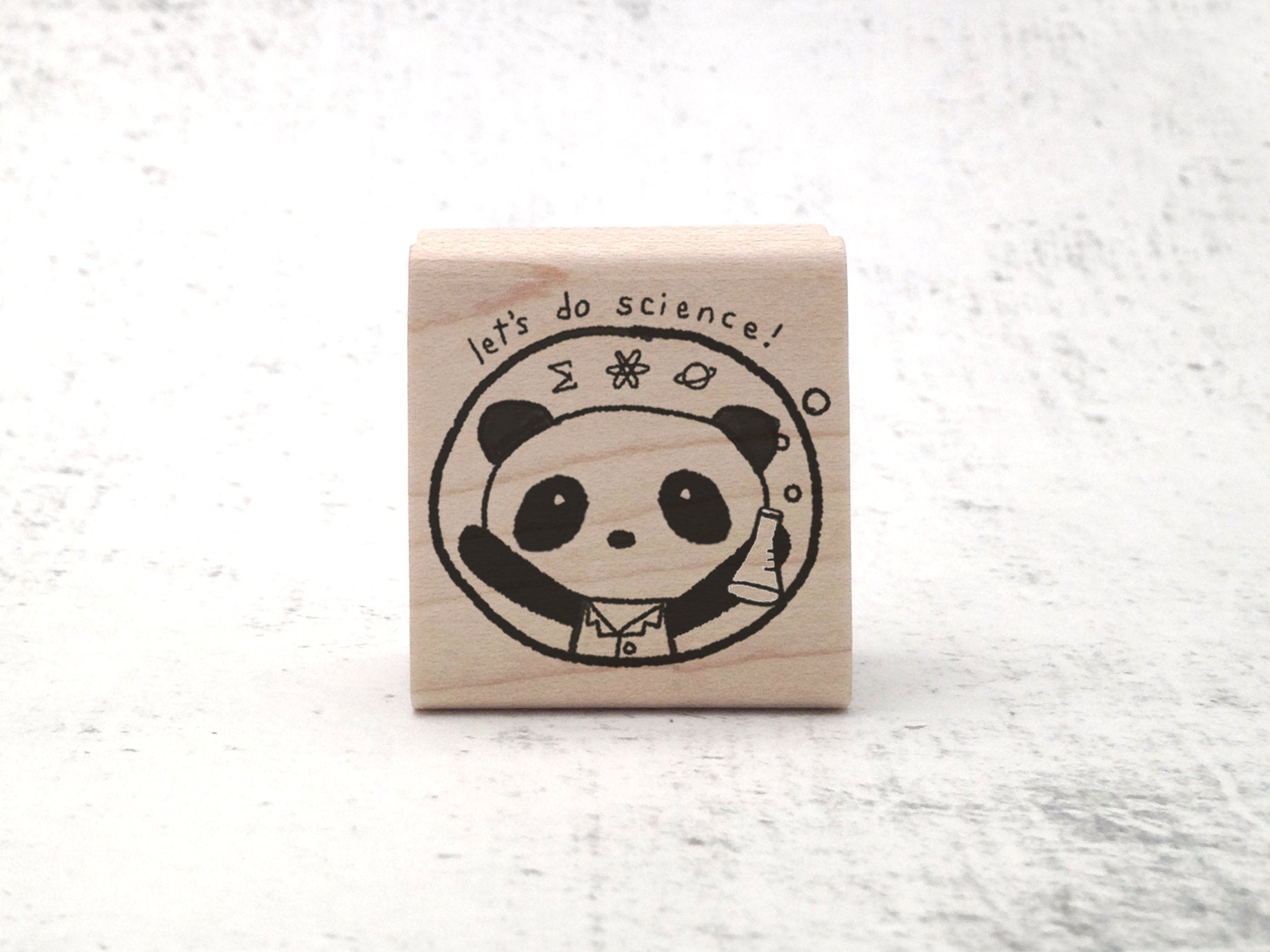 The Let's Do Science Lab Panda Rubber Stamp - Kawaii Science Panda Stamp - Funny Stamp - Teacher's Motivational Grading Stamp