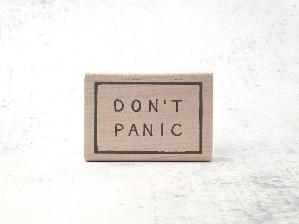 The Don't Panic Stamp - HHGTTG Rubber Stamp - Motivational Stationary Stamp - Hitchhikers Guide Geek  Rubber Stamp