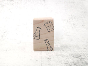 Chemistry Lab Stamp Set - Beaker, Flask, and Graduated Cylinder Rubber Stamp - Science Rubber Stamp Set